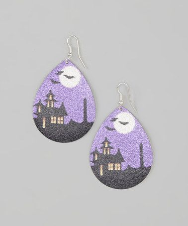 Take a look at this Purple & Black Haunted House Frosted Drop Earrings by Buffalo Jewelry on #zulily today!
