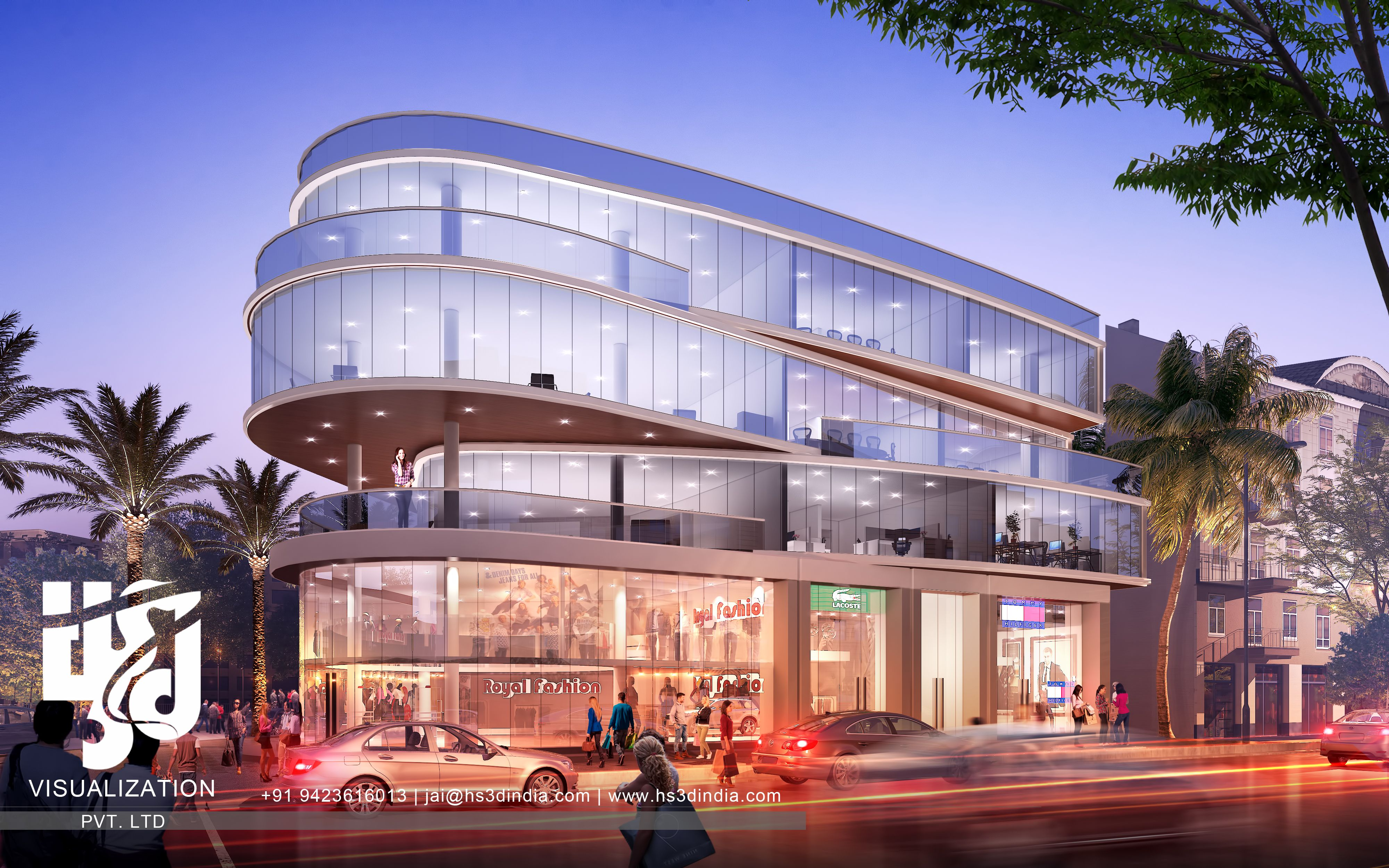 3D MODERN SHOPPING MALL EXTERIOR ELEVATION RENDERING BY HS3D INDIA