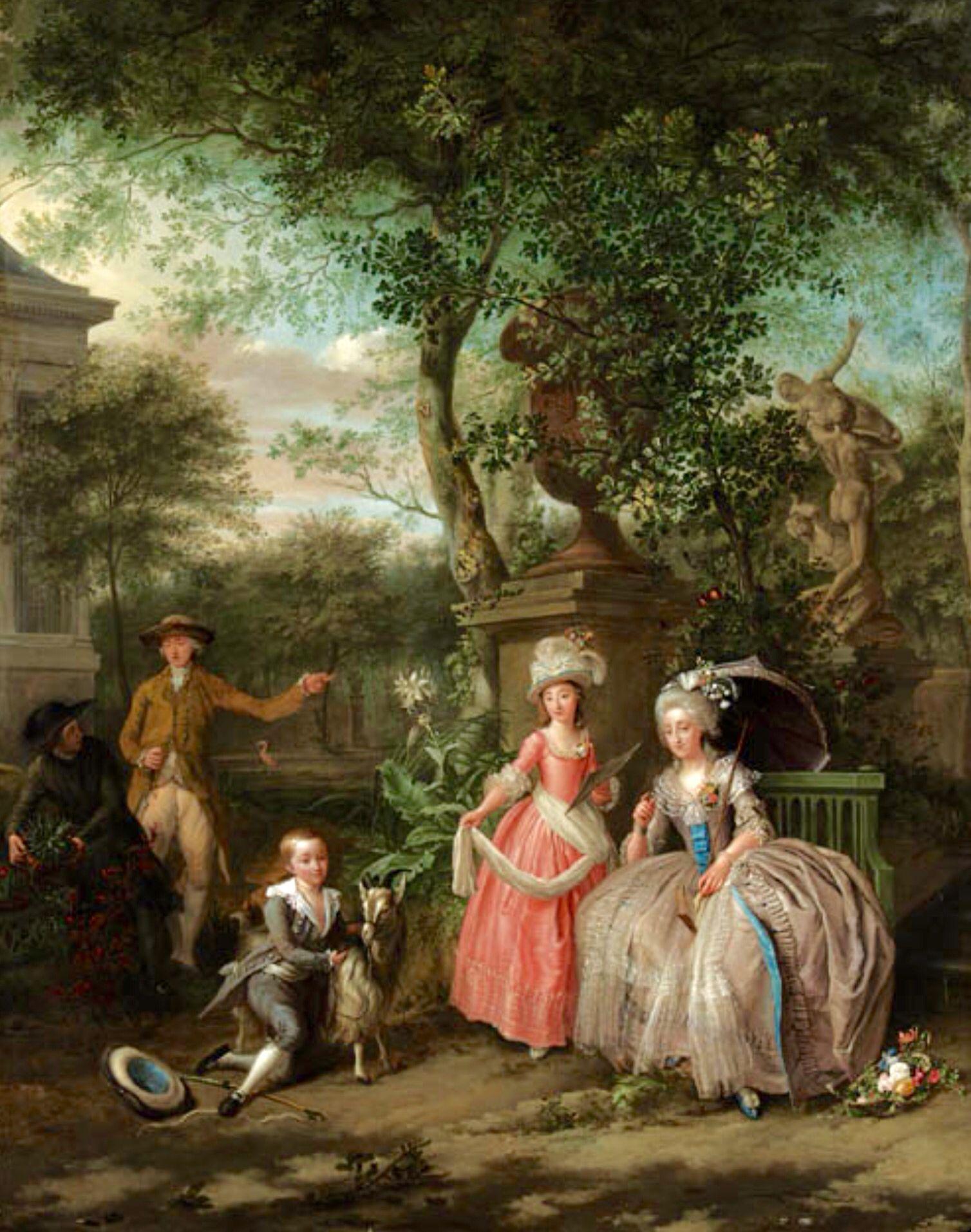 Maria Antonieta sus dos hijos y un acompañante en los jardines del Trianon
