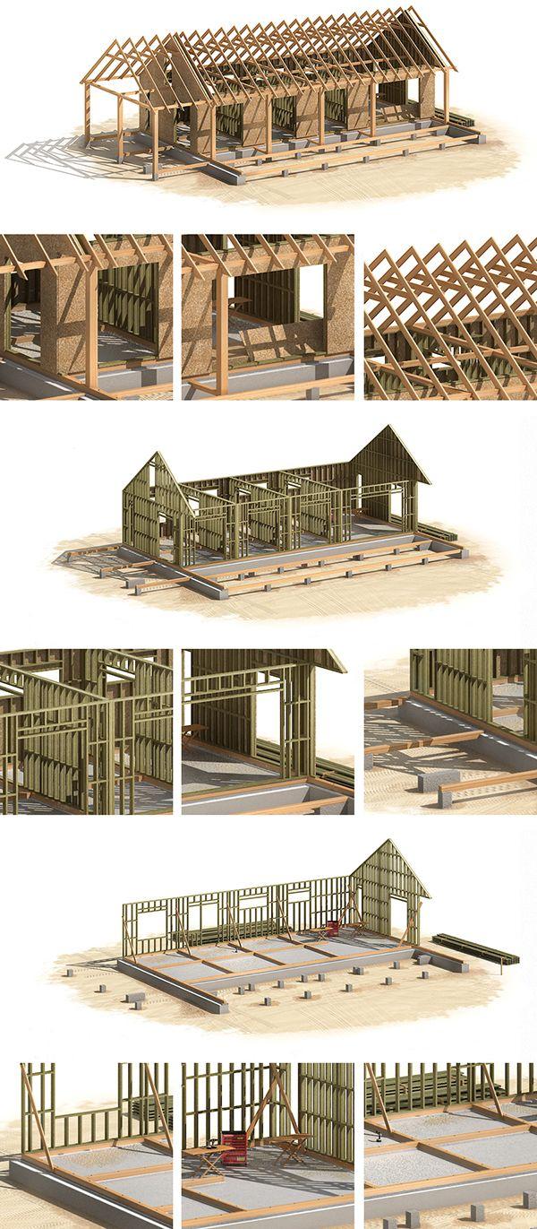 canadian wood frame house construction on behance wood cabin pinterest ferienhaus holz. Black Bedroom Furniture Sets. Home Design Ideas