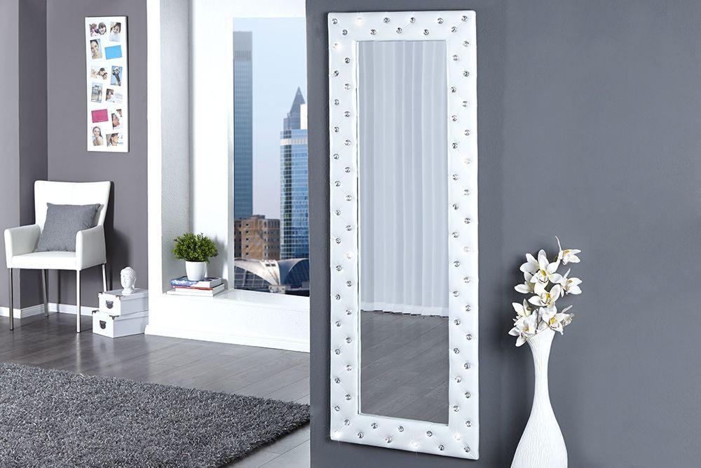 Miroir capitonne Strass simili cuir blanc 170x60 cm ...