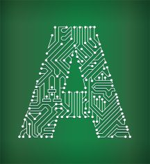 Letter A Circuit Board royalty free vector art background vector art ...