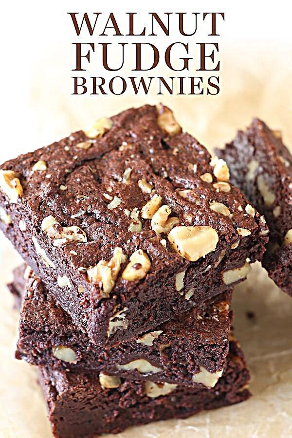 Walnut Fudge Brownies are ultra rich, moist, chewy, chocolaty and loaded with crunchy walnuts