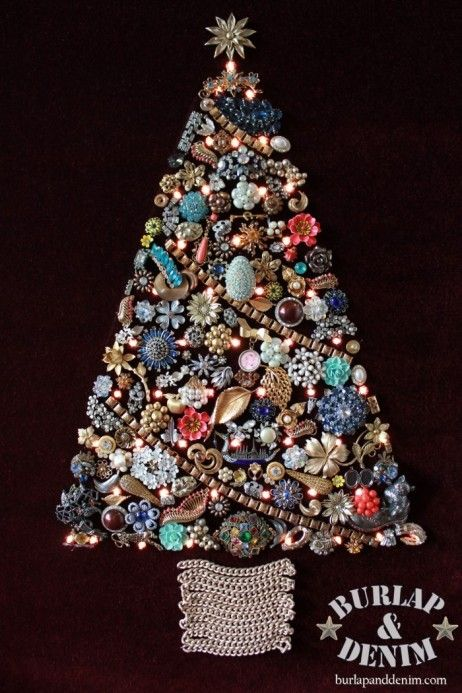 Vintage Jewerly Christmas Tree My Grandma Made Two Big And Small They Now Hang At My Mom S During Christmas Jewelry Christmas Tree Jeweled Christmas Trees Vintage Jewelry Crafts
