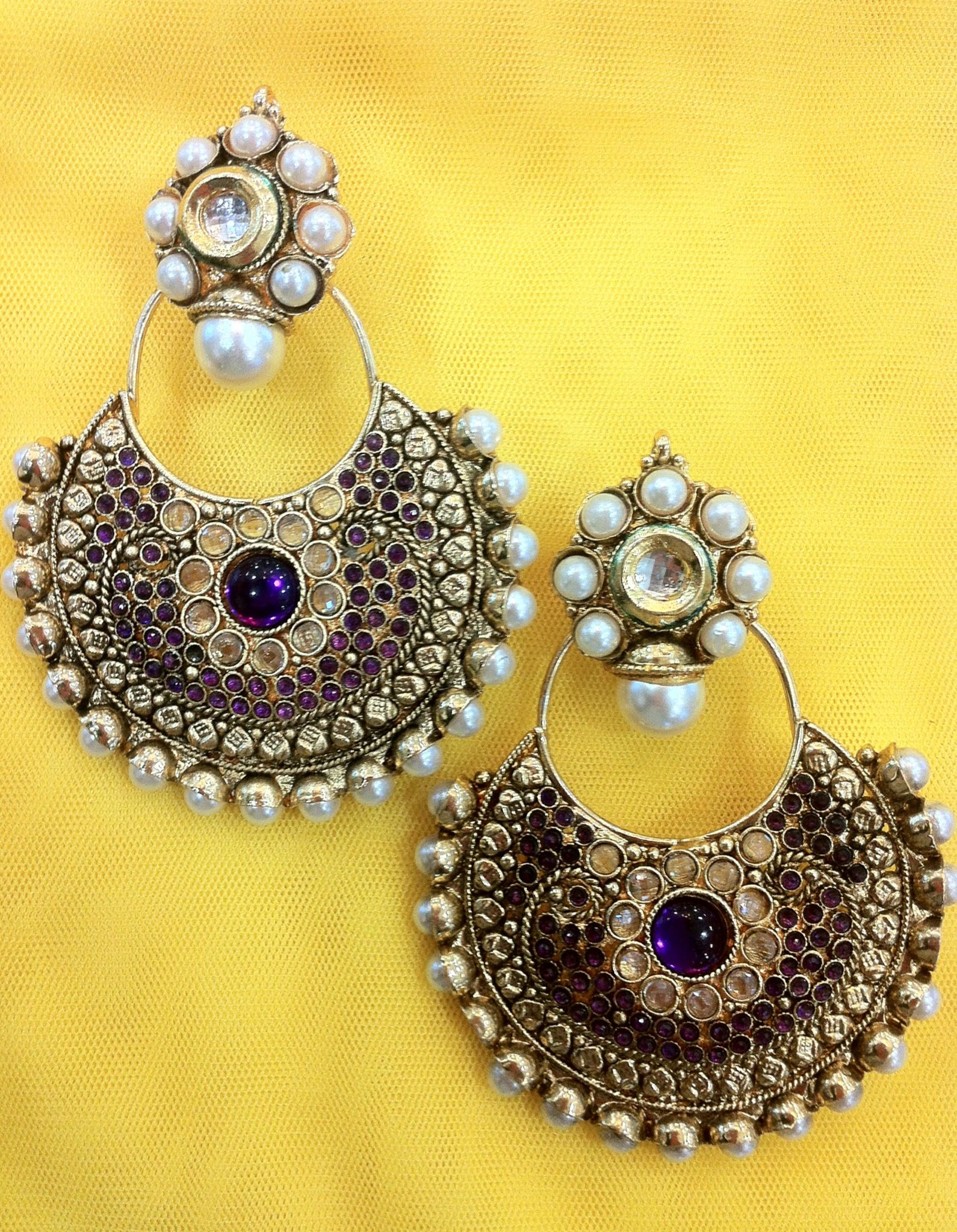 Zari & Zevar -Kundan Big Chandbali Earring for $34.99