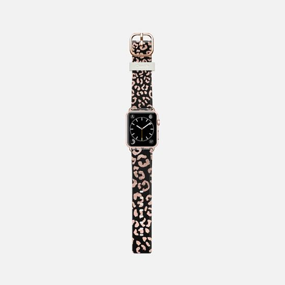 Modern rose gold leopard hand drawn print pattern on black by Girly Trend - Casetify Band