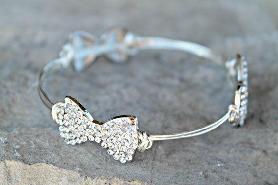 Bow Bracelet - Bow Bangle - Rhinestone Bracelet - Bow Charm Bracelet - Wire Bracelet - Holiday Jewelry - Christmas Gift For Girlfriend This wire