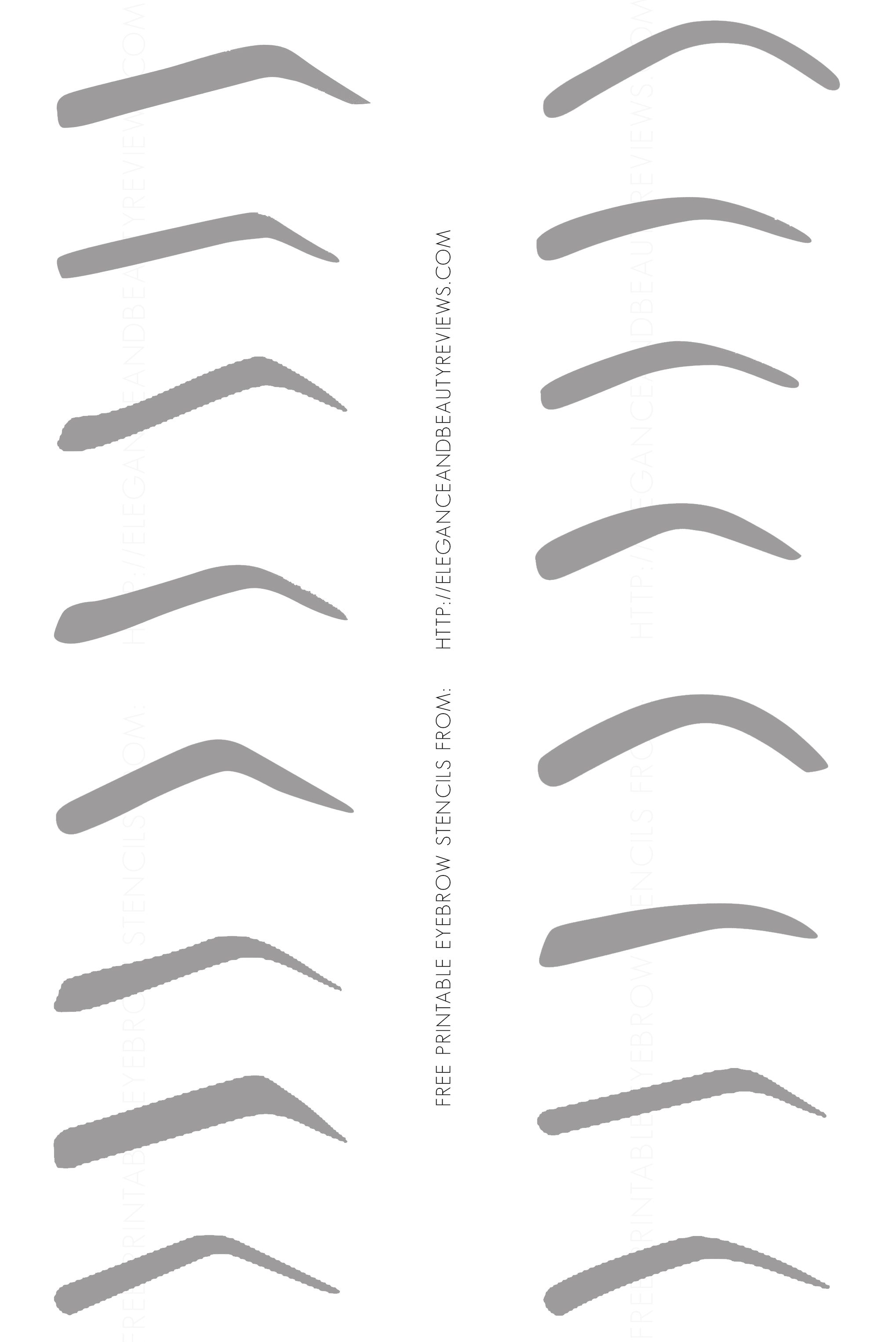 Printable eyebrow stencil template eyebrow printable for Printable eyebrow stencil template