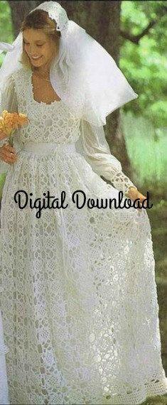 Crochet wedding dress pattern vintage hippie boho romantic lacy crochet wedding dress pattern vintage hippie boho romantic lacy juliet cap veil motif junglespirit Gallery