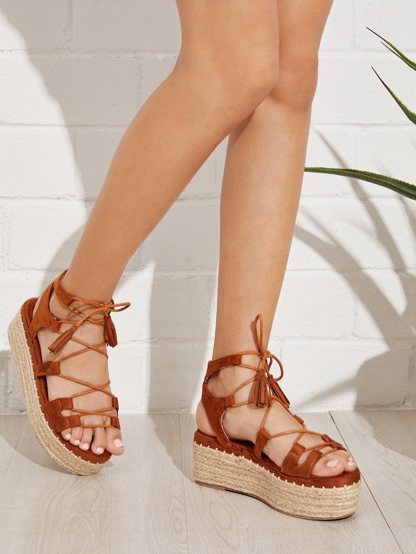 7ec3bfcced9372 Criss Cross Flatform Suede Sandals -SheIn(Sheinside)