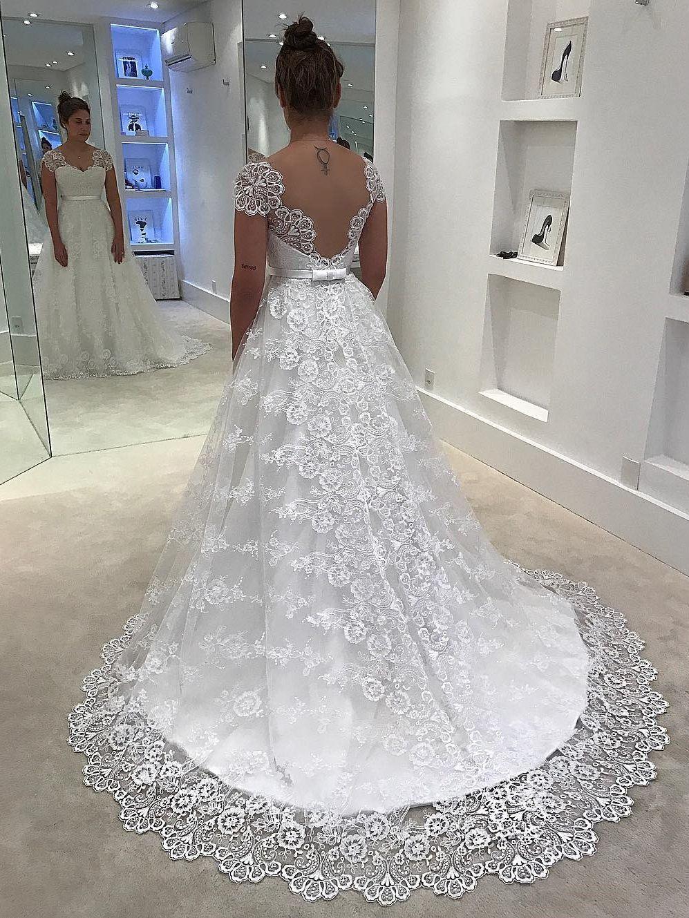 c8173fc78 Wedding Dresses 2018, Wedding Dress White, Lace Wedding Dress, Wedding Dress  2018, Long Wedding Dress, Lace White Wedding Dress #Wedding #Dresses #2018  ...