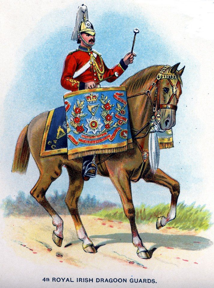 British; 4th (Royal Irish) Dragoon Guards, Kettledrummer, c.1912 from Bands of the British Army by W.J. Gordon and illustrated by F. Stansell