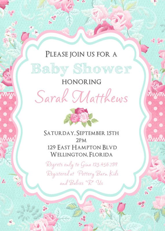 Cottage chic baby shower invitation victorian floral pink and blue shabby chic baby shower invitation victorian floral by 3peasprints filmwisefo