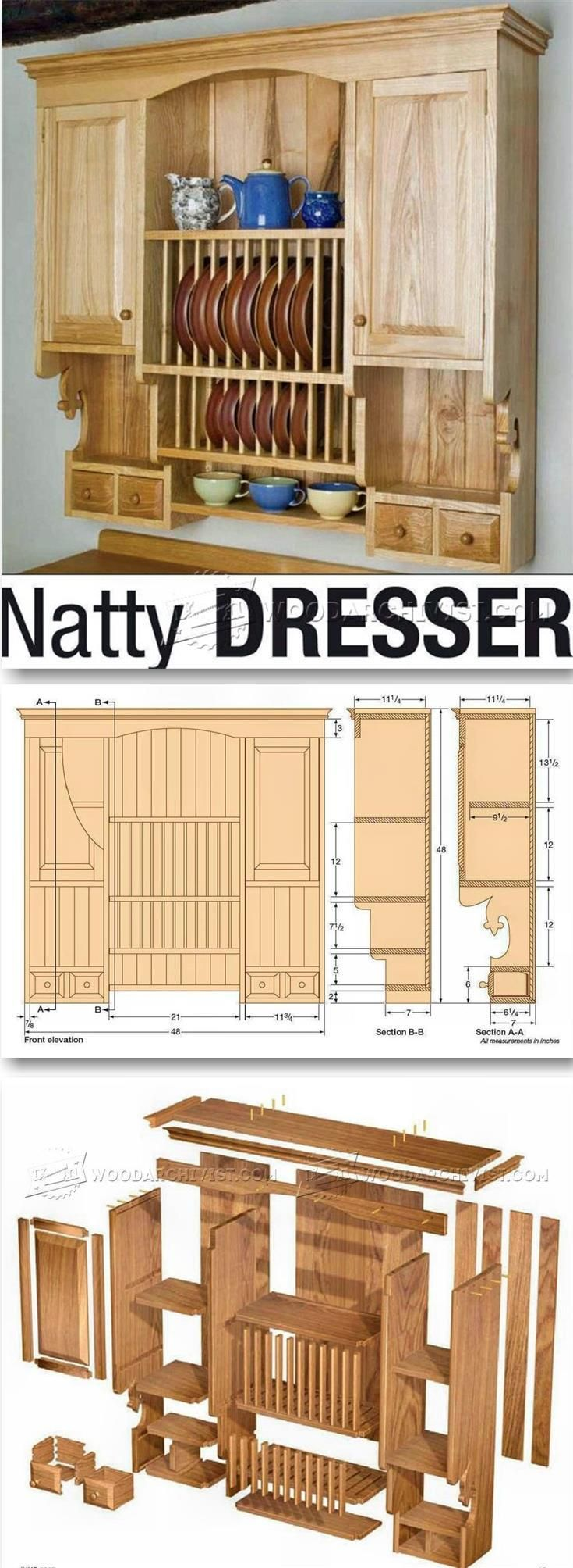 Kitchen wall hung dresser plans furniture plans and projects