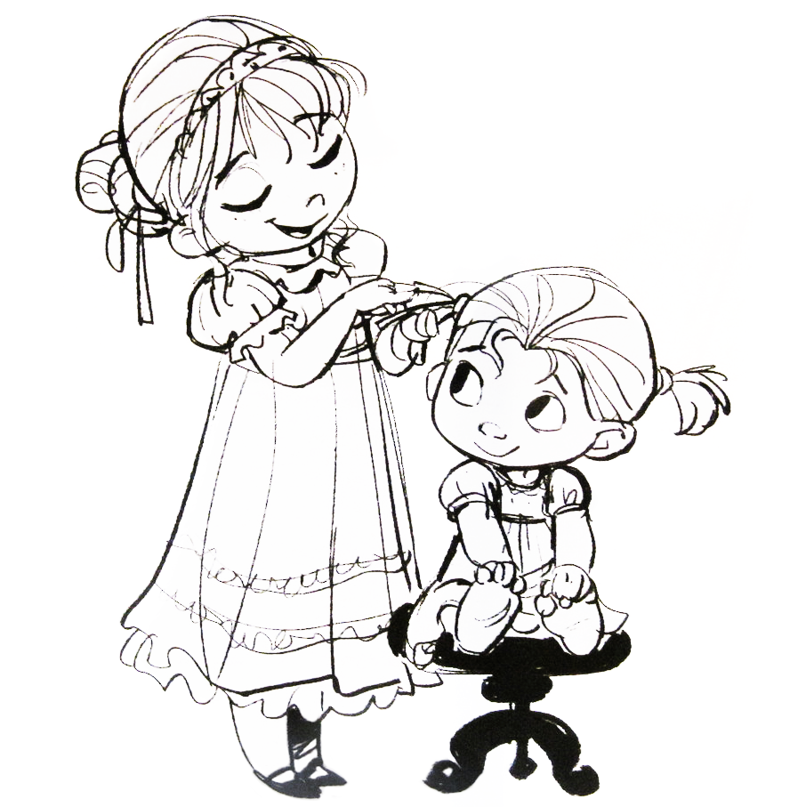 Disney Frozen (2013) concept art, Anna and Elsa as toddlers ✤ || CHARACTER DESIGN REFERENCES