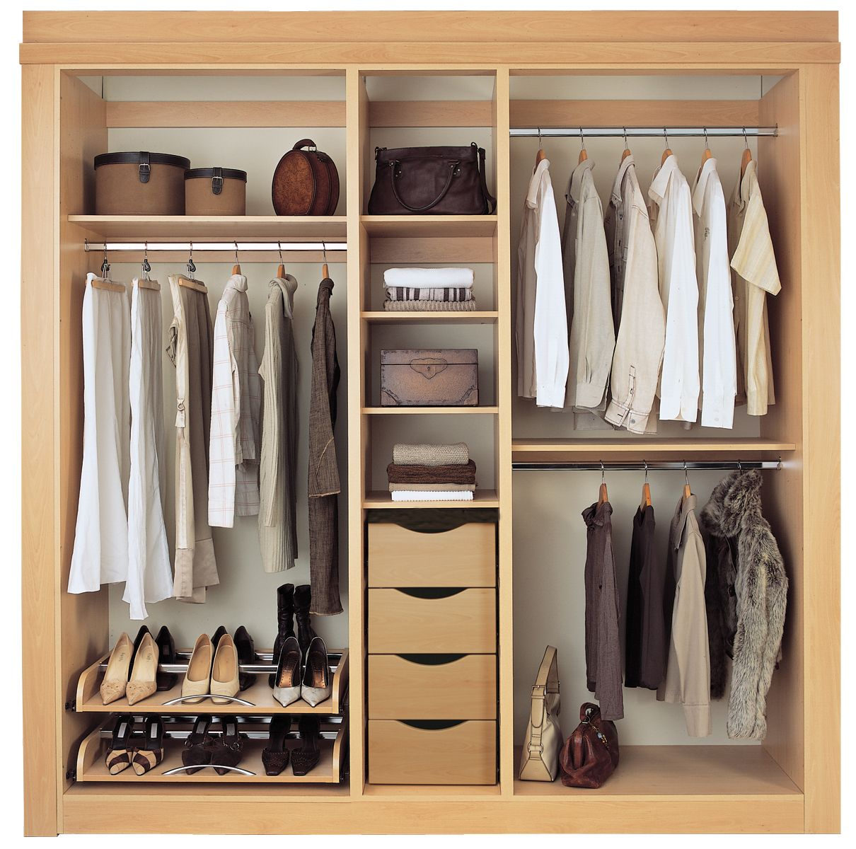 Drawers design is different and unique built in storage Short wardrobe with drawers