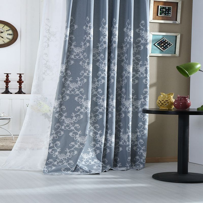 Country Curtains Gray Blue Floral Embroidered Grey Linen Curtains Curtain Decor Blue Grey Curtains