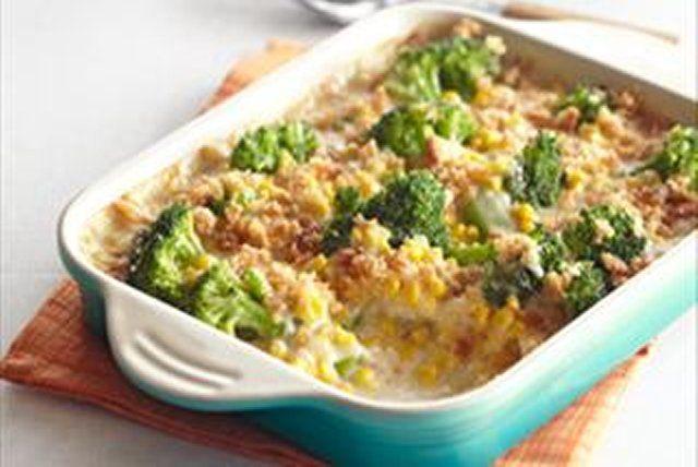 Brócoli y elote al gratén