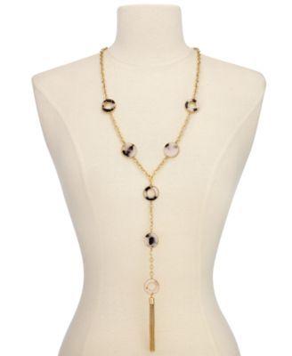 Thalia Sodi Gold-Tone Tortoiseshell-Look Lariat Necklace, Only at Macy's - Gold