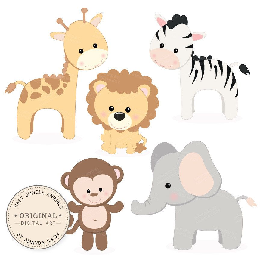professional baby jungle animals clipart vector set baby shower rh pinterest com Baby Shower Clip Art Templates Giraffe Baby Shower Clip Art