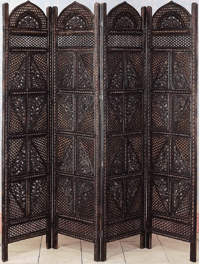 Carved Wood 4 Panel Room Divider Screen Asian Brown Home Decor 32620
