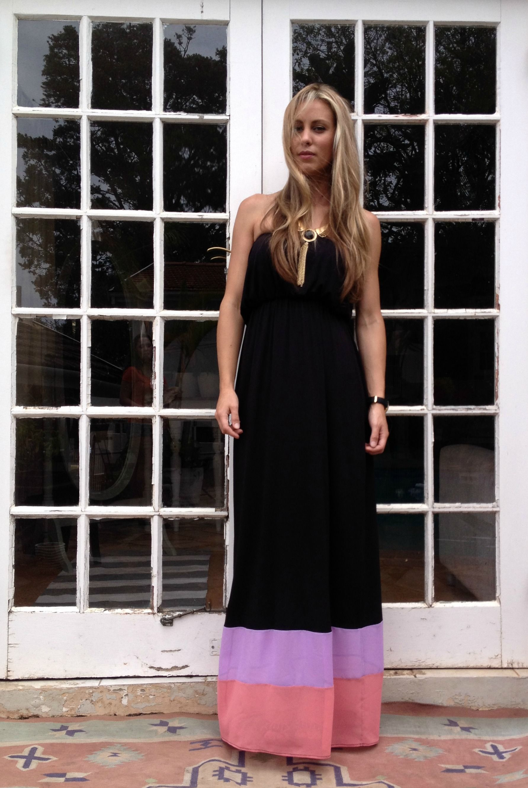 Black colour block maxi dress gee love it pinterest color