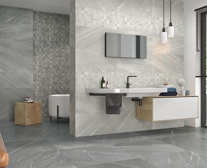 burlingstonegrismarengo bathroom  natural stone tile