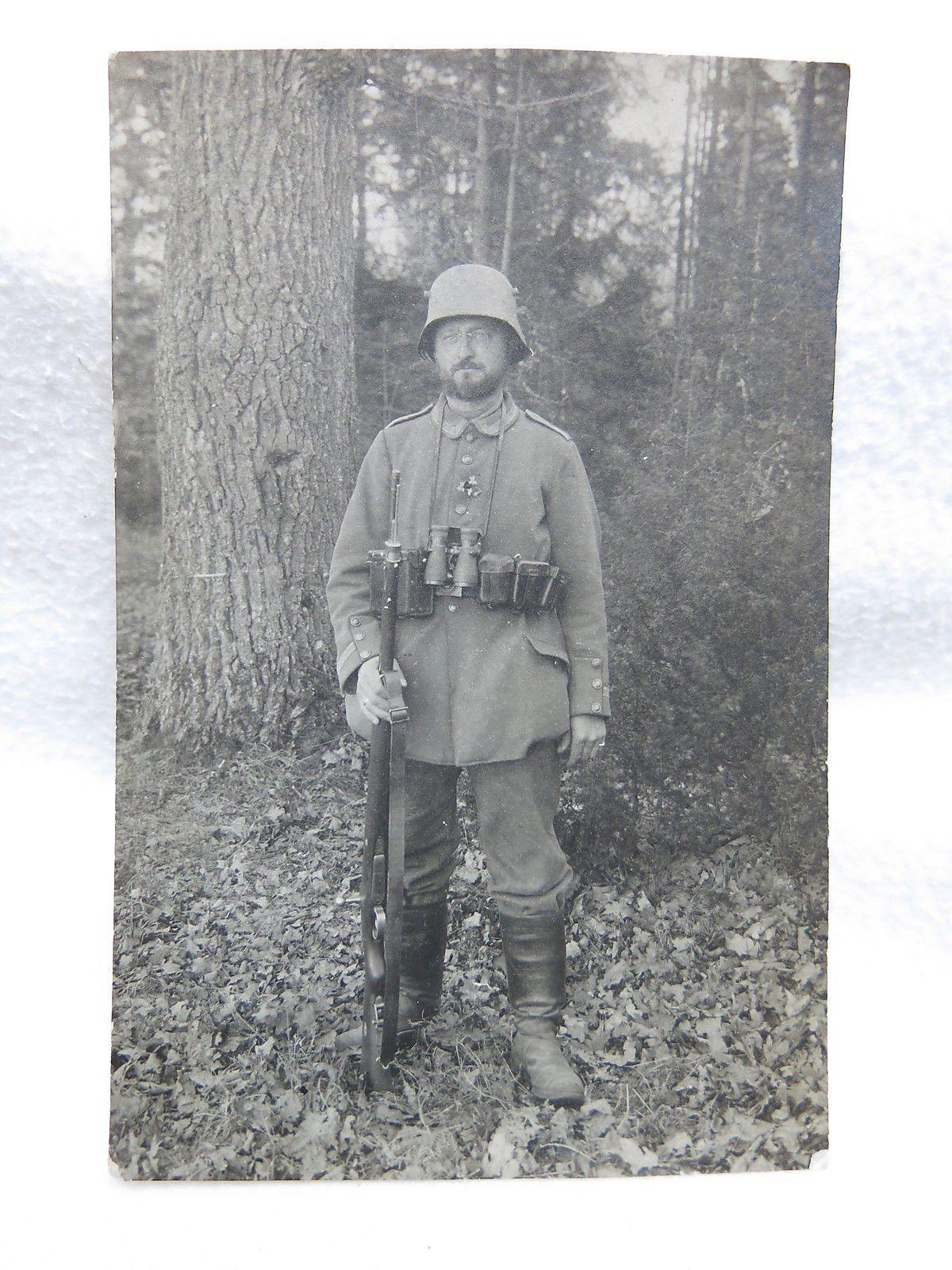 Wki Foto Preussen Soldatenportrait Feldgrau Stahlhelm Dienstglas Soldat Helm Portrait