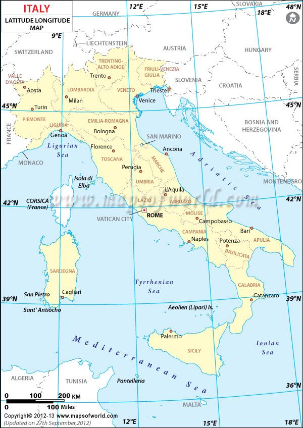 Italy Latitude And Longitude Map My Work Pinterest Italy And - World map with latitudes
