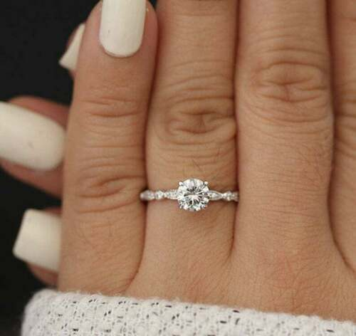 Details about 1CT Brilliant cut Moissanite Art Deco Engagement Gift Ring Solid 14k White Gold