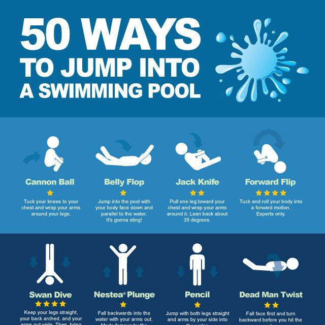 50 Ways To Jump Into A Swimming Pool Swimming Pools