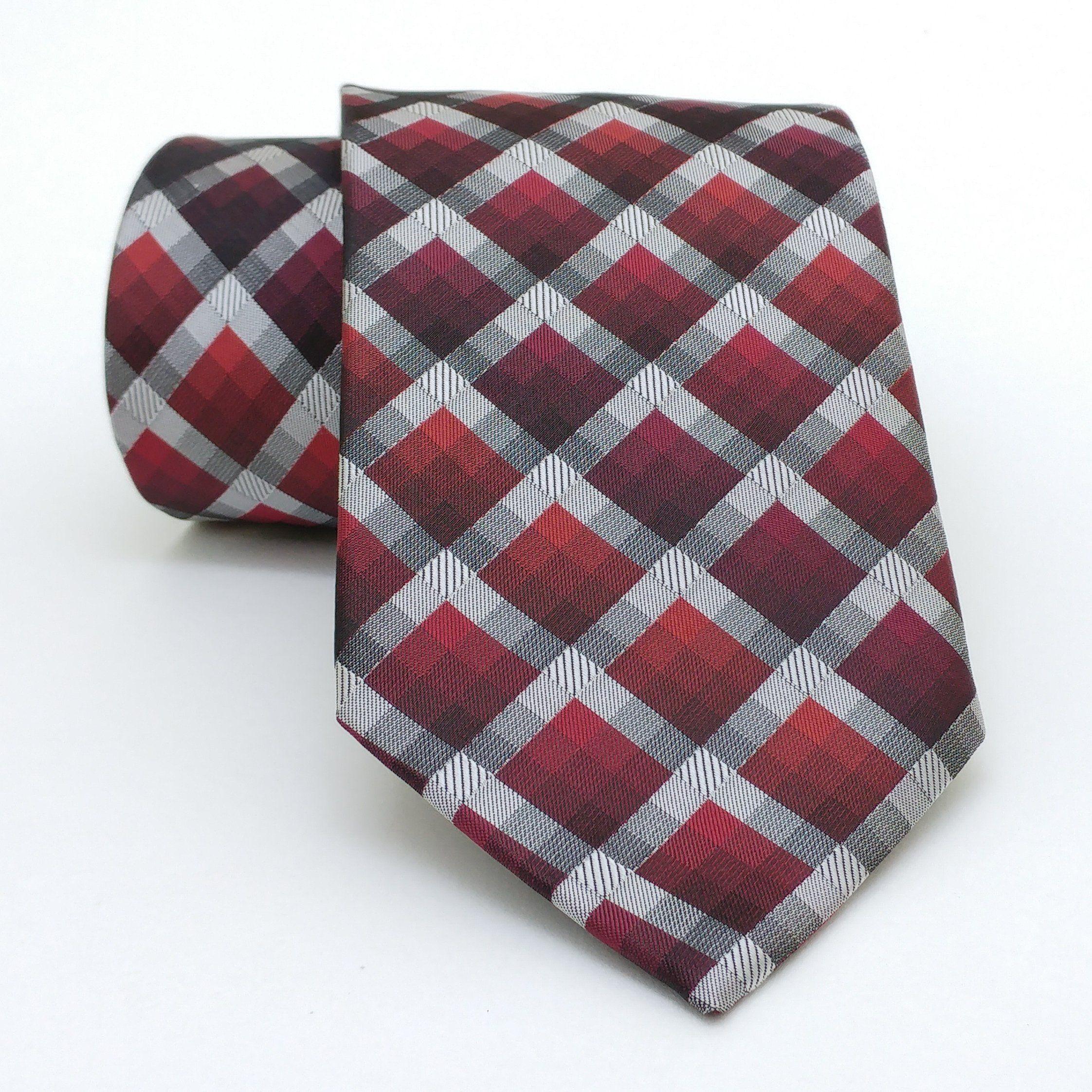 "Claret red and gray plaid men's tie 8 cm (3,15"") DK-112. Claret red and grey plaid men's necktie DK-112 Width : 8 cm (3,15"") Length : 150 cm (59,06"")."