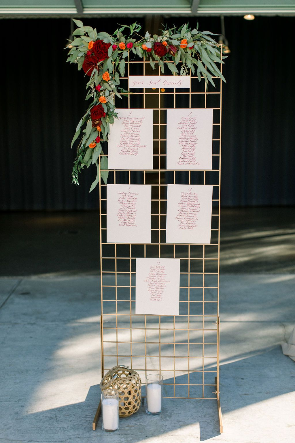 Simple And Sweet Seating Chart With Gold Seating Chart Wedding Ace Hotel Wedding Palm Springs Seating Charts