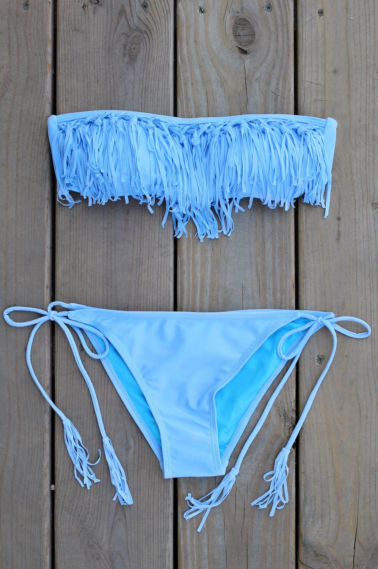 Periwinkle Fringe Bandeau Bikini