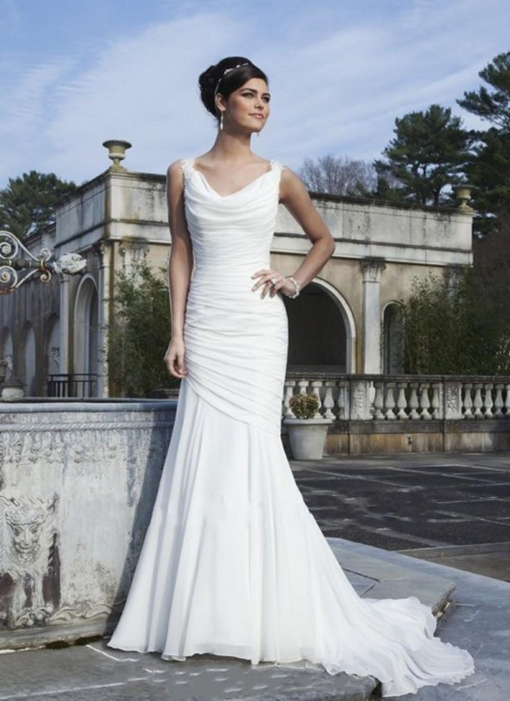 1088cf7139a6a Cowl Neck Wedding Dress Mermaid Lace Straps Criss Cross Back Ruched Chiffon  Beach Bridal Gowns Ronald Joyce Dropped Waist Sexy Bride Wear Cheap Bridal  ...