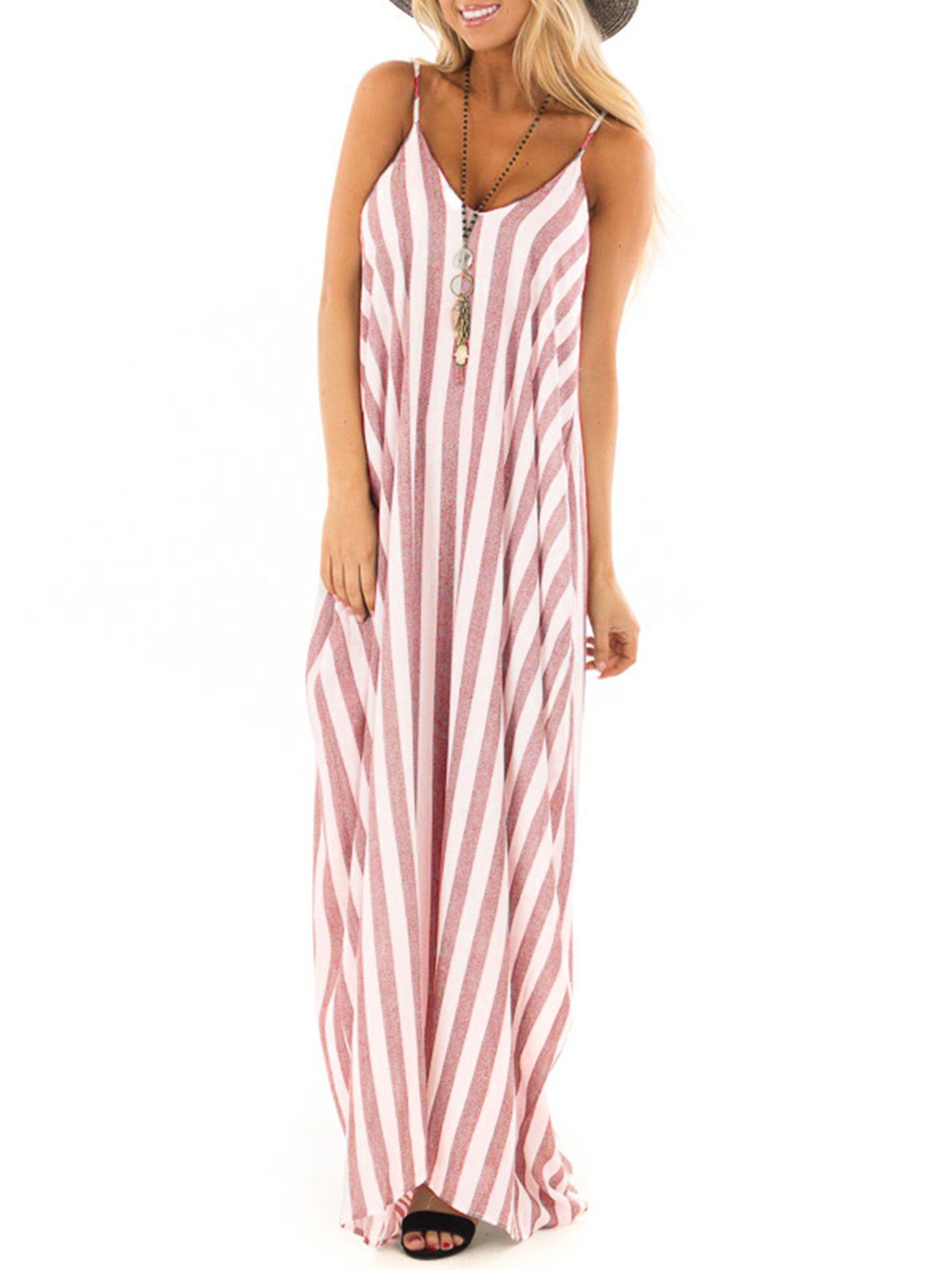 Himone Summer Holiday Women Strappy Cami Striped Long Boho Dress Ladies Beach Maxi Sundress Walmart Com Long Summer Dresses Boho Summer Dresses Boho Dresses Long [ 2000 x 1500 Pixel ]