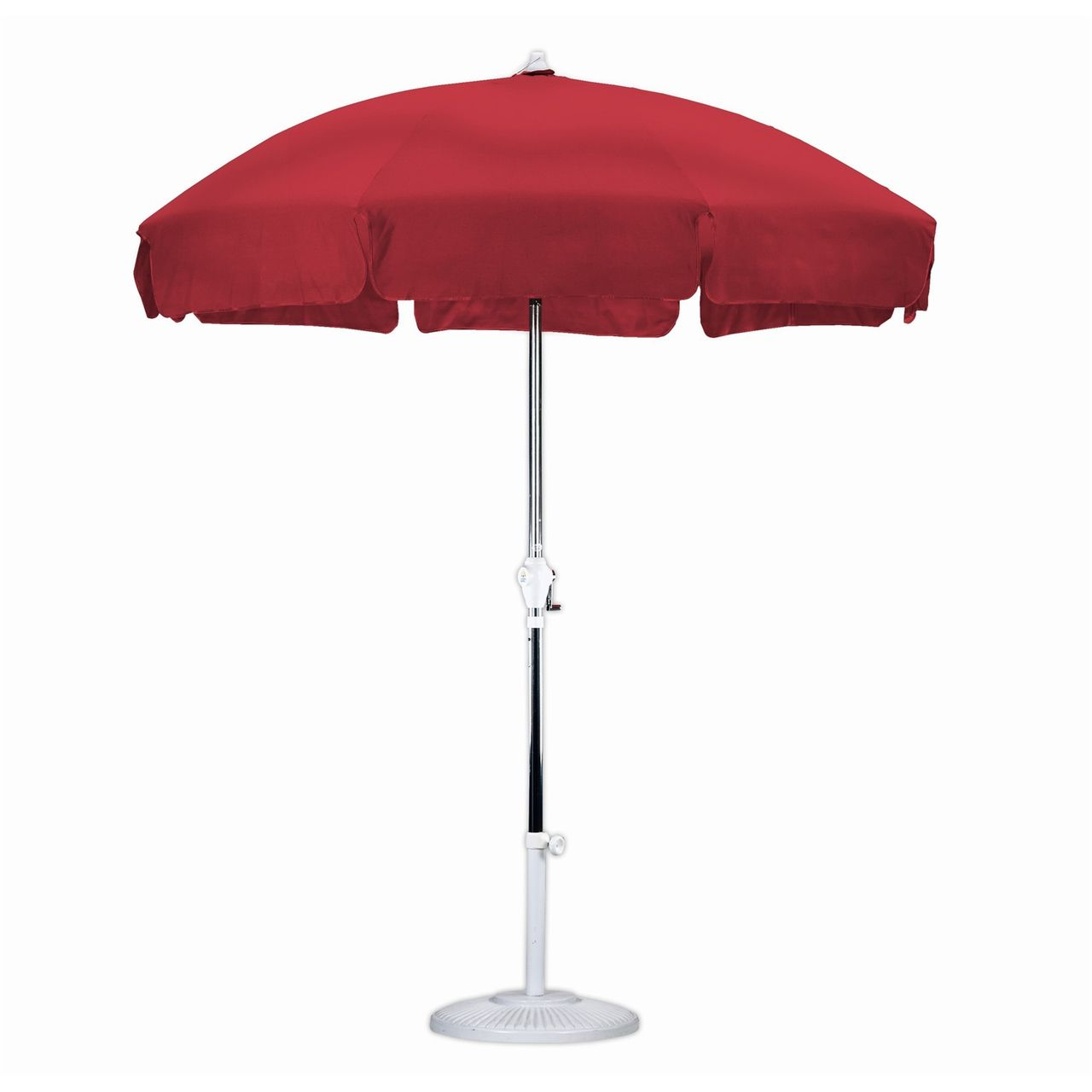 Attractive 7.5 Foot Patio Umbrella With Push Button Tilt In Red Olefin Fabric    Quality House