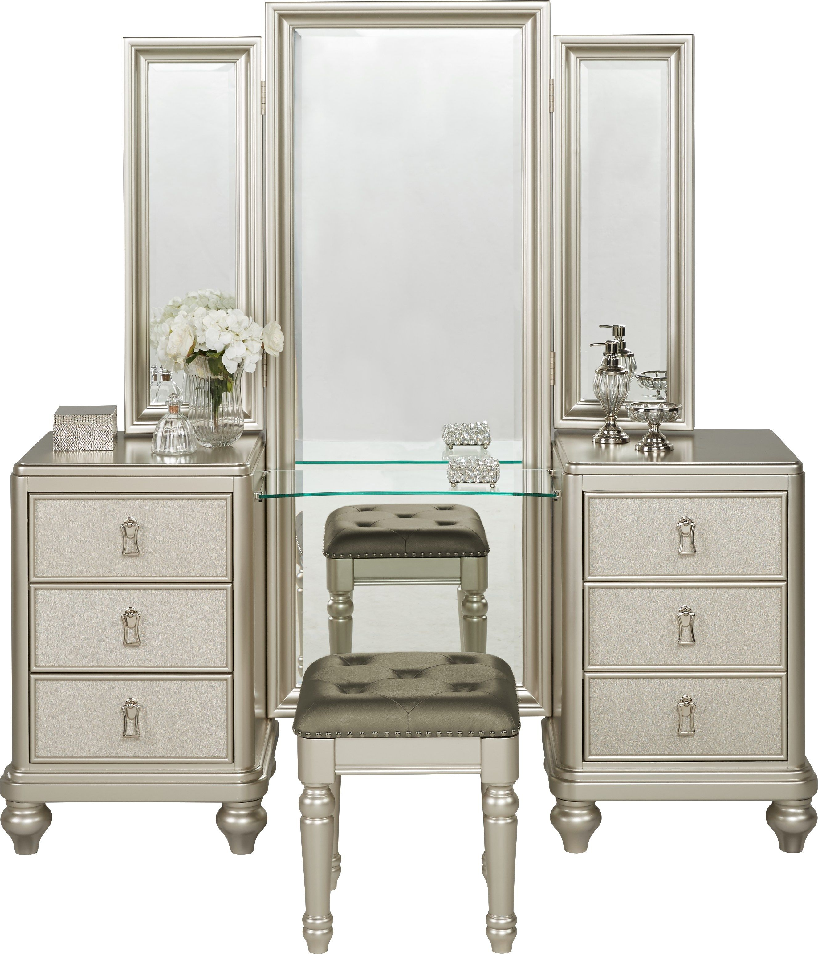 Sofia Vergara Paris Silver 2 Pc Vanity Set Bedroom Vanity Set