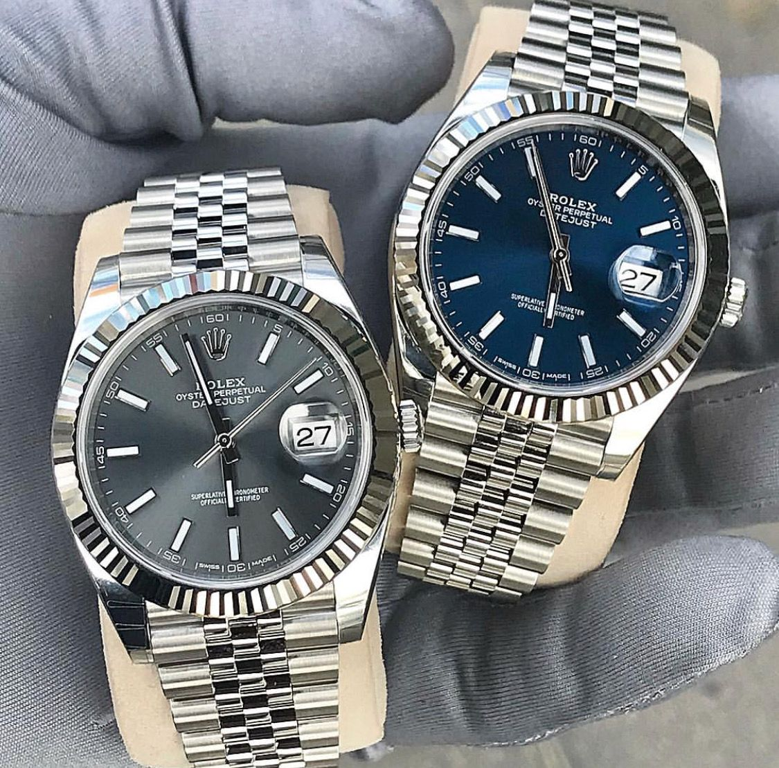 Rolex DateJust in Rhodium and Blue #luxurywatches
