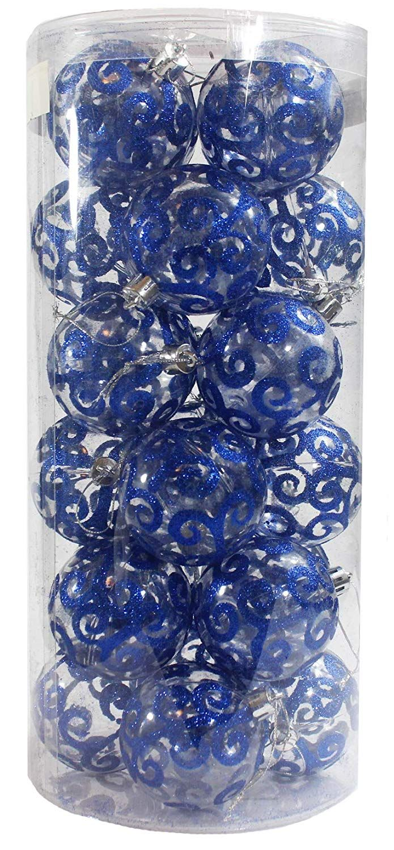 Festive Season 24pk 60mm Transparent Swirl Christmas Tree
