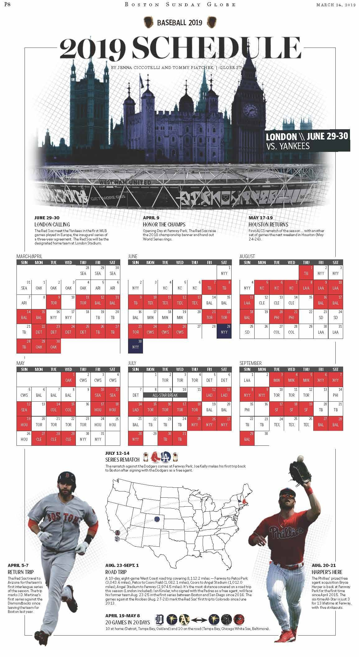 Red Sox 2019 Schedule Red sox, Schedule, Road trip