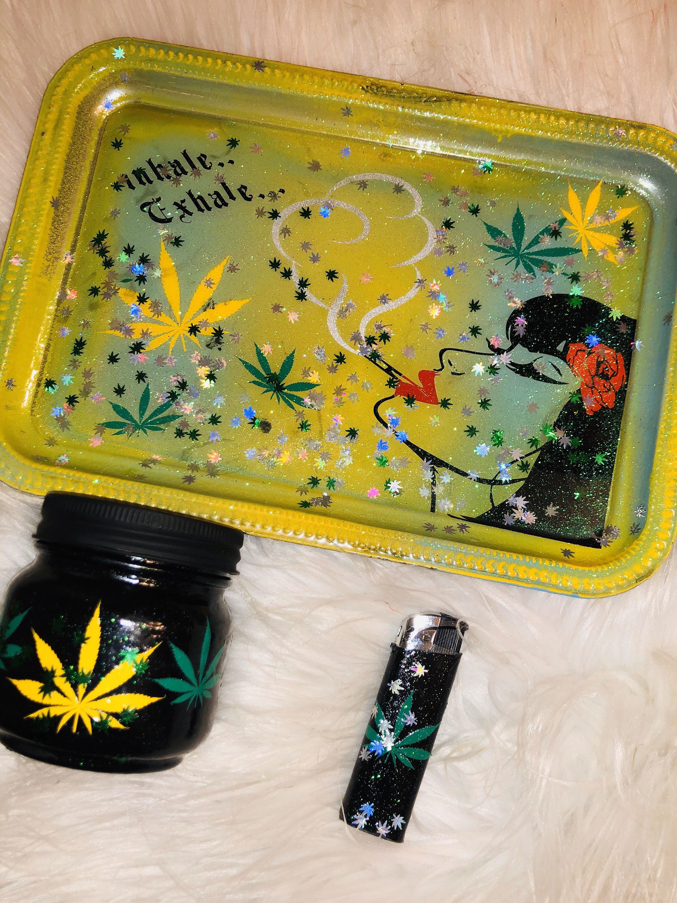 Rockabilly Pin up Inhale exhale Rolling Tray Medical Tray makeup tray set of 3. Tray, jar and lighter. Name included