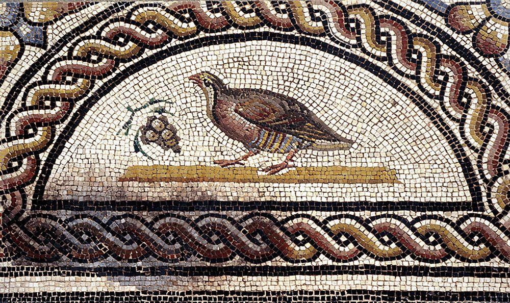 Perdrix Picorant Une Grappe De Raisin Dernier Quart Du Iie Siecle De Notre Ere Detail De La Mosaique Mosaique Romaine Art De La Mosaique Oiseaux En Mosaique