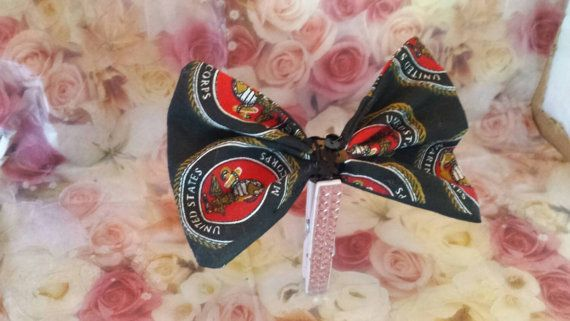 Marine corps sequin accented hair bow patriotic by LouLeeAndMe