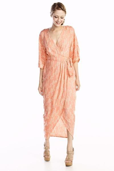 26bb0ee0559 Stylized feather kimono wrap dress - SymbologyClothing