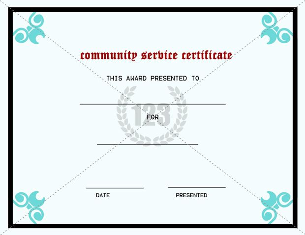 Best Community Service Certificate Template 123Certificate – Sample Certificate of Service Template
