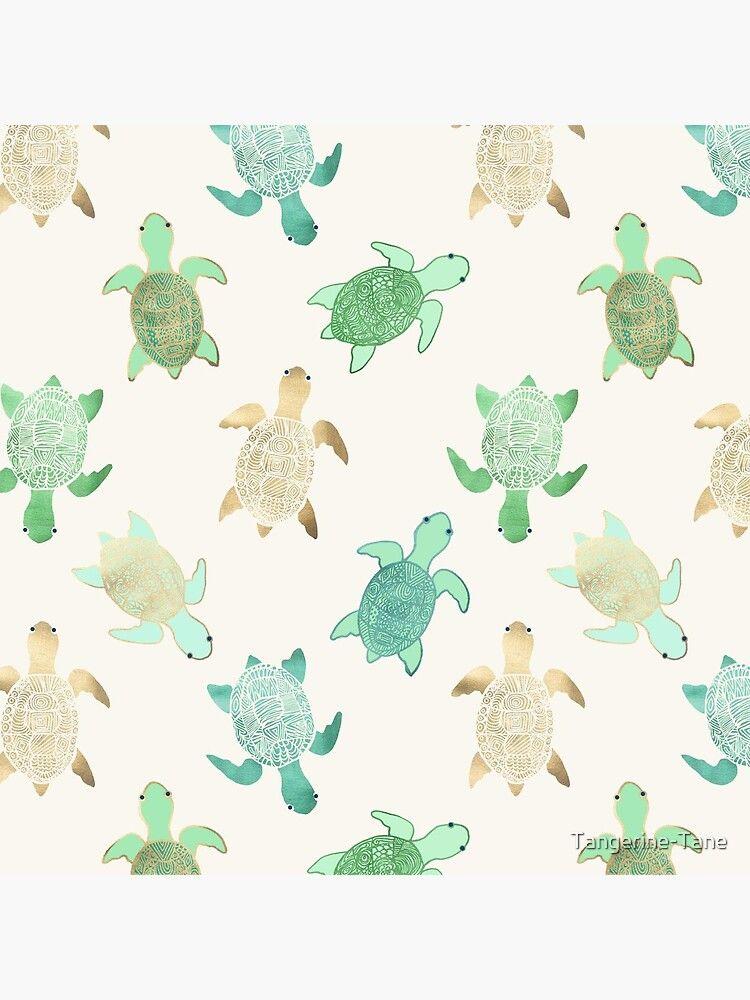 'Gilded Jade & Mint Turtles' Acrylic Block by Tangerine-Tane