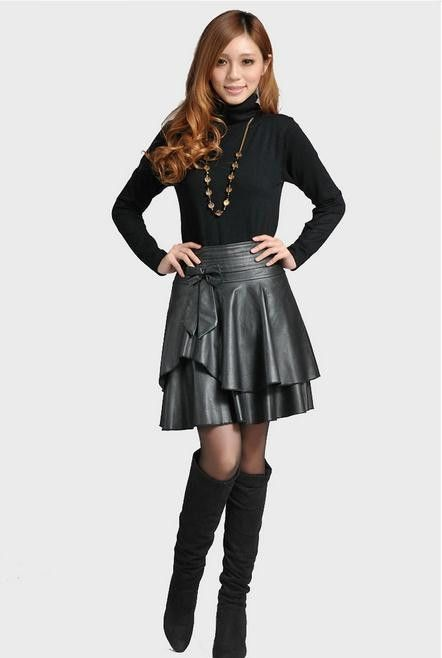 New Spring High Waist Leather Pleated Skirt M-4XL boots outfit