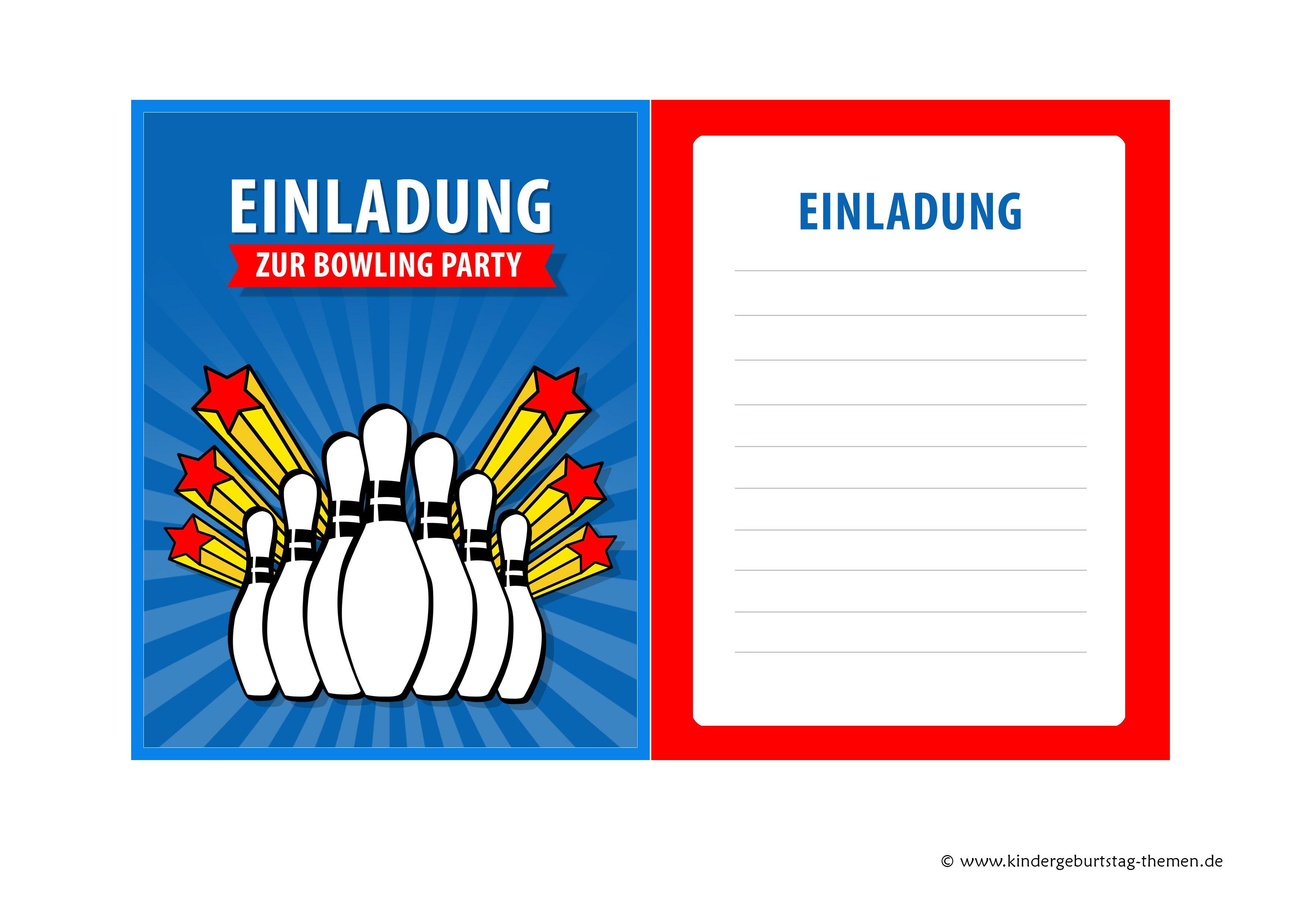 Einladung Kindergeburtstag Bowling (Kegeln): Kostenlose Vorlagen Der  Einladungskarten Zum Ausdrucken | Kindergeburtstag | Pinterest |  Einladungskarten Zum ...