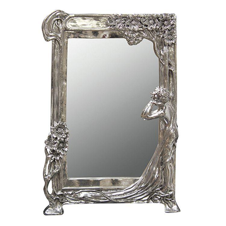 Art Nouveau Style Silver Mirror 27 x 40cm is part of Silver Home Accessories Art Deco -